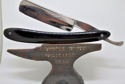 Vintage German straight cut throat razor, etched blade shave ready 6/8