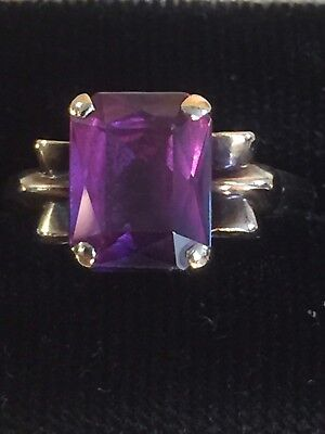 Vintage 10k Yellow Gold Art Deco Style  Amethyst Ring Size 6.25
