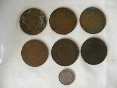 7 VINTAGE CANADIAN COINS 6 ONE CENT and 1 FIVE CENT