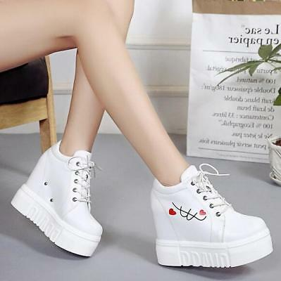 45ad7e5f5 Womens ladies leather Wedge Heel Platform Sneakers Trainer Lace up Sport  Shoes
