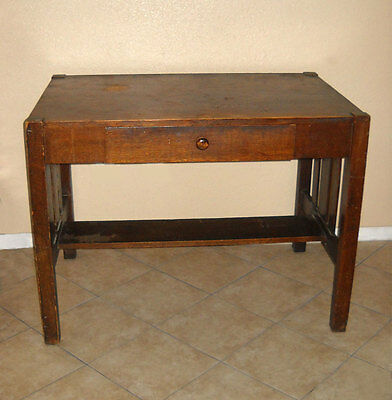 Arts & Crafts Desk Table Mission Library Oak Vintage Antique Needs Refinishing
