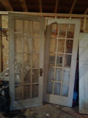 Matched Set Exterior Antique Oak French Doors With Glass and 3 other old doors