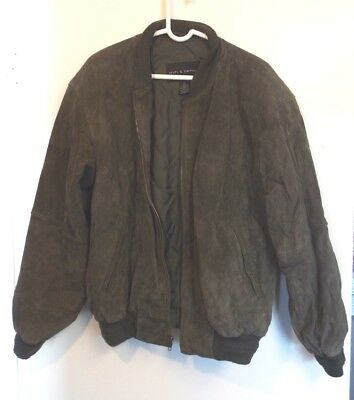 Croft and Barrow Mens Coat Genuine suede Leather Jacket Green large