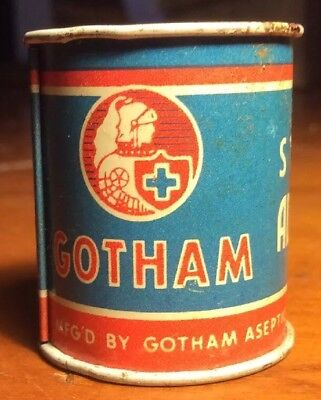 Vintage Gotham Stickrite Adhesive Tape Can Tin Advertising First Aid Medicine
