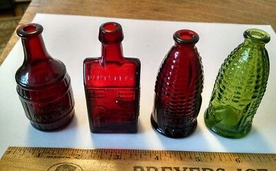 4 Vintage Miniature Wheaton Nj Bottle Lot Ruby Red Green Doc's Cure Boozs Whisky