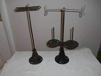 2 Antique Cast Iron Thread Spool Holders Stand Industrial Made IN USA