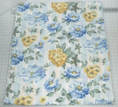 Vintage Shabby Chic KING FLAT Sheet Blue Yellow Roses Florals Stripes 50/50 EUC