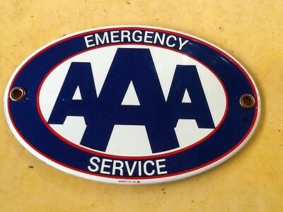 Mint New Old Stock AAA Porcelain & Steel Emergency Service Sign Badge