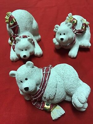 "Set of 3 Ceramic Holiday Christmas Polar Bears, approx 3"" H by 4.5"" long"