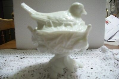 Westmoreland White Milk Glass  Bird On A Twig Nest - Perfect