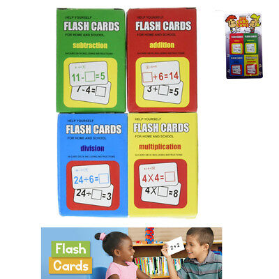 Set 4 Math Flash Cards Addition Subtraction Multiplication Division Child Learn