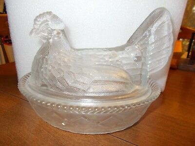 Large Westmoreland Clear Glass Hen On A Nest- Perfect!