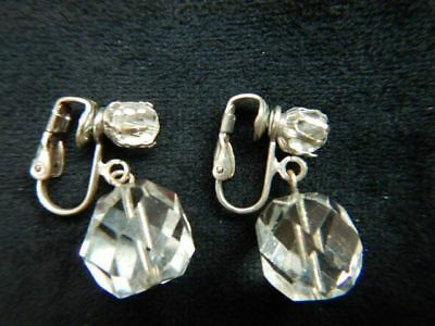 Vintage Clip On Earrings Dangling Round Faceted Crystal