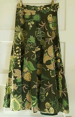 Vintage Sequined Half Circle Cotton Skirt Green Botanical Late 1940s Size 8 S