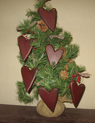 PRIMITIVE  COUNTRY  HEART ORNIES  set of 6