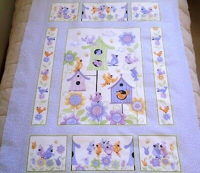 Susybee's Bird, Bird House & Floral Print  Quilt Panel - Quilts, Blocks, Tops