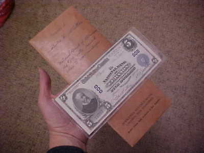 1902 Large National Currency Banknote Charter 808 Lebanon Nh  $5 With Provenance