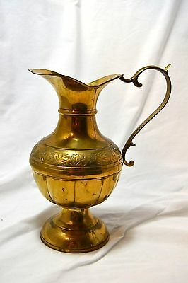 Vintage heavy Solid Brass Etched Water Pitcher Vase India