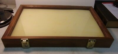 "Vintage Countertop Display Case Wood and Glass 18"" x 12"" x 2"" can be wall hung"