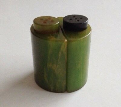 Vintage Art Deco Bakelite Salt & Pepper Shaker Pair c1930s Marbled Green Yellow