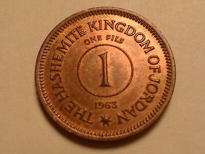 1963  Nice High Grade Red Brown Jordan Bronze 1 Fils Rare Low Mintage 200,000!!!