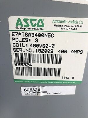 Asco 7000 Automatic Transfer Switch E7atsa3400n5c 400amp 480v 60hz Used
