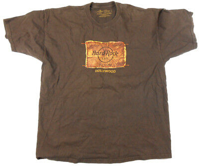 Hard Rock Cafe T- Shirt Hollywood, klassisch - Gr. XL - Braun - Tshirt