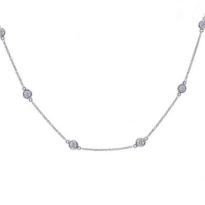 1.80 Carat Round Cut Diamonds By The Yard Necklace 14K White Gold