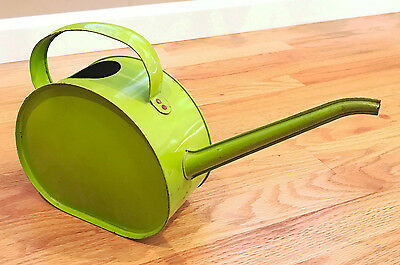 Vintage Antique Metal Tin Litho Watering Can Design w/ Spout Mid Century Modern