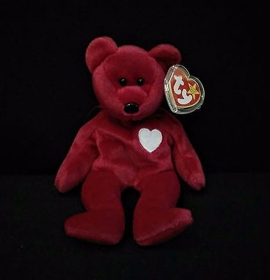 Ty Beanie Babies 1999 Valentina Plush Bear w/Tags 2 Errors EUC Retired 8.5""