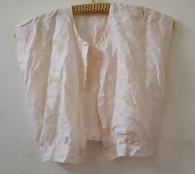 Antique Edwardian XXS Lace Linen Embroidered Pin Tuck Blouse Palest Pink