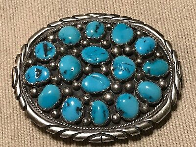 Tommy Moore Belt Buckle Sterling Silver Turquoise Signed