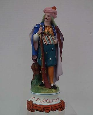 Antique Paris Porcelain Figure Turkish Ottoman Soldier with Dagger & Gun 19th c