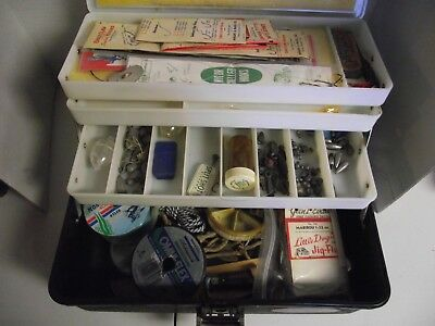 Vintage black Sears Roebuck co. Tackle Box Ted Williams full of misc tackel LOOK