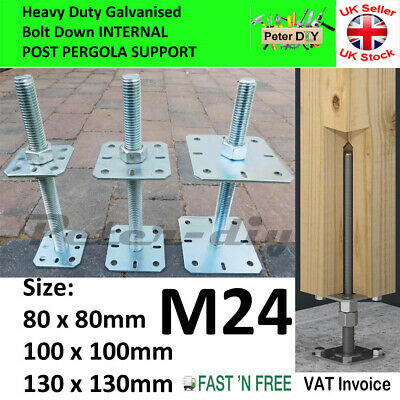 Heavy Duty Galvanised Bolt Down Post Support Height:25cm Phi:24 mm Pack: 1/2/4