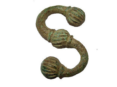 EXTREMELY RARE LARGE ROMAN BRONZE S-Shaped PENDANT AMULET+++Top Condition+++