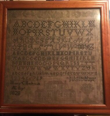 Very Early Sampler 1828 Mary Babcock House Mansion Pre-Victorian Beautiful Piece