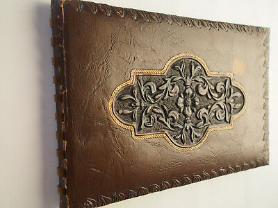 Vintage or Antique Tooled Embossed Genuine Leather Hand Made Guest Book Unused