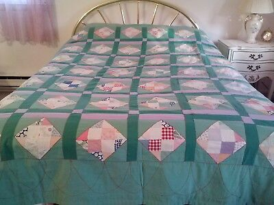 Vintage 1940's Hand Made Geometric Patchwork Quilt-Full-One Owner-Fabulous