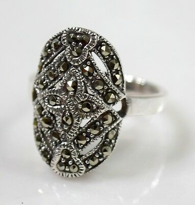 Sterling Silver Vintage 925 Marcasite Accents Art Deco Style  Ring sz 8  5.4 g