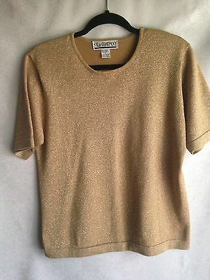 Vintage SK &Company Knit Blouse Women's Size Medium Gold Lame Top Pullover Shirt