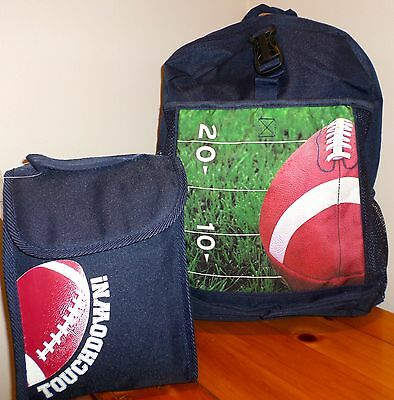 NWT The Childrens Place Boys *FOOTBALL* Backpack and Lunch Box NEW