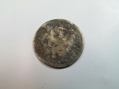 1887 Antique Damaged Queen Victoria 5 Cent Silver Canadian Coin