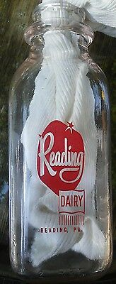 Vintage milk bottle Reading Dairy Reading, PA one pint