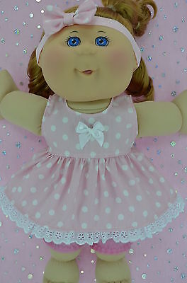 "Play n Wear Doll Clothes For 14"" Cabbage Patch POLKA DOT DRESS~BLOOMERS~HEADBAND"
