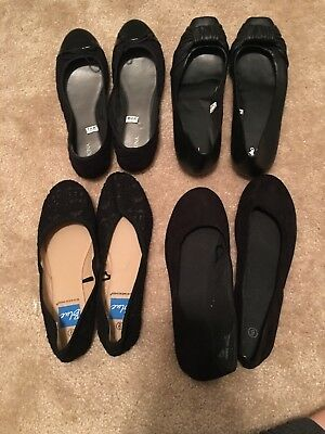 Womens Shoes Size 9 Black Flats / Ballet Flats, Mix Brand Lot of 4, Leather Lace