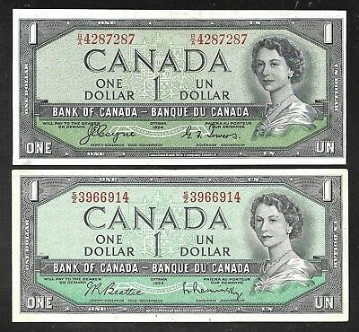Canada - Two 1 Dollar Notes - 1 w/Devils Face / 1 Modified - 1954 - Both XF