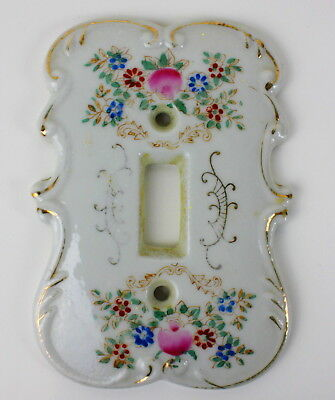 Vintage Hand Painted Porcelain Light Switch Plate Pink and Blue Flowers