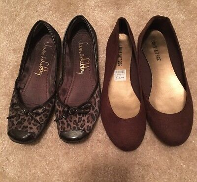 Womens Shoes Size 9 - Lot of 2 Brown Leather Flats - Ballet Flats, Sam & Libby,