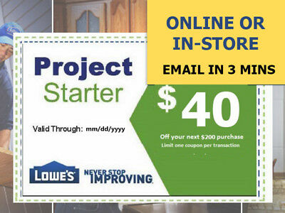 Two (2x) Lowes $40 Off Next $200 Coupons- Lowe's expiry 1/19/18